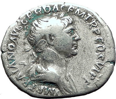 TRAJAN 114AD Rome TRAJAN's COLUMN in the Forum Ancient Silver Roman Coin i63406