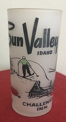 Sun Valley ID Frosted Tumbler Vintage The Lodge Challenger Inn 1950's