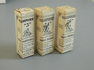 Vintage Humphreys Homeopathic Medicine 3 Boxes Unopened No.'s 3 4 8