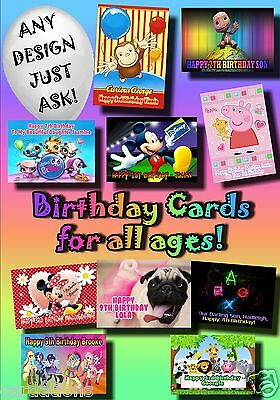 PERSONALISED birthday card Large A5 ANY greetings kids mothers fathers name (29)