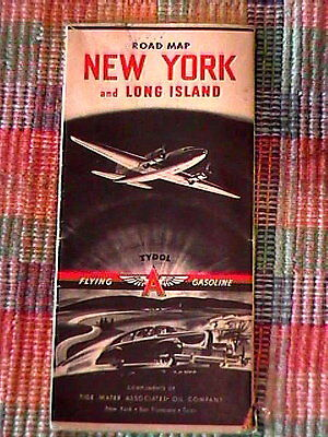 1941 Tydol Trails Road Map Of New York And Long Island !!!