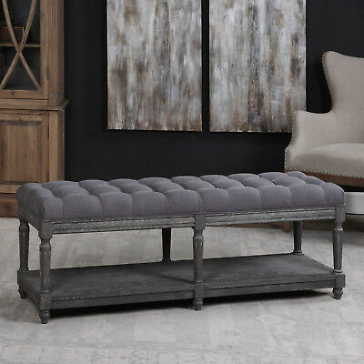 "56"" w John Bench button tufted cotton linen gray weathered hand carved details"