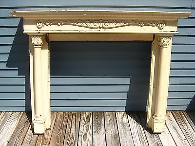 Antiq Bradley & Currier Oak Fireplace Mantel Mantle w/Two Columns f/Restoration