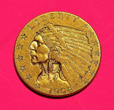 1908 $2 1/2 Indian Head Gold Coin Quarter Eagle YOU GRADE with FREE SHIPPING !!