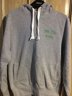 Grey 1000 mile Runner Hoodie Unisex Hoodie Sized Small