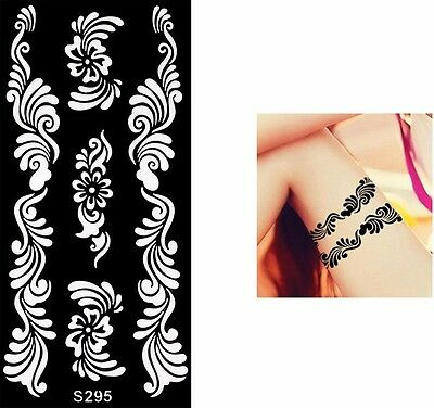 Black Henna Butterfly Flower Hands Art Stencils Airbrushing Body Makeup Painting