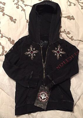 Brand New AFFLICTION Black Zip-Up Hoodie Kid's 5T Firefight Style
