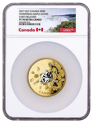 2017 Canada Silver $50 - Whispering Maple Leaves - Gilt - PF70 UC ER - NGC Coin