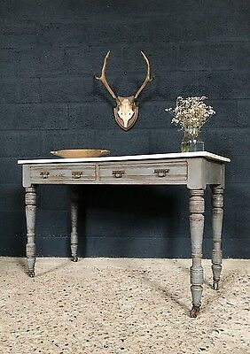 Victorian Antique Country Farmhouse Marble Top Painted Hall Table Desk