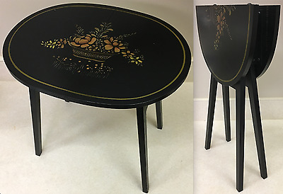 Vintage Hitchcock Harvest Stenciled & Signed Collapsible Folding Table / Stand
