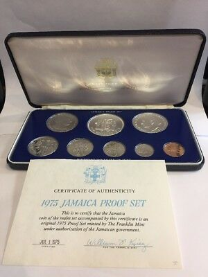 1975 Jamaica Silver Proof Coin Set The Franklin Mint 8 Coins With Box And Coa