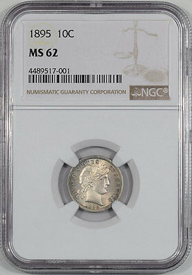 1895 Barber Dime Ngc Ms-62, Mark Free & Very Attractive!  From The Reeded Edge!