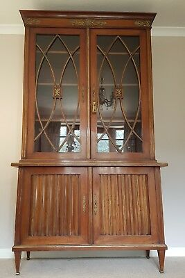French Mahogany c1900 Empire Style Bookcase with Brass Decoration.