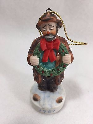 Emmett Kelly Sad Clown Christmas Ornament 1987 Vintage 21568