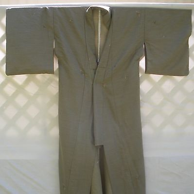 Japanese Women's Kimono Olive Green/Tan Checkered Suiting Authentic