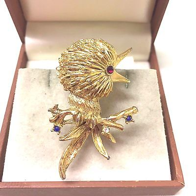Vintage 1960's Signed Sphinx Chick Bird Figural Brooch Pin