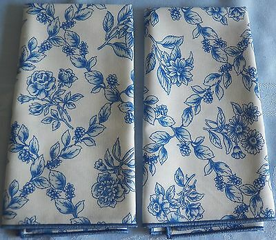 Longaberger 2-Pack Fabric Napkin Cobalt Blue & White Cottage Trellis Scotchgard