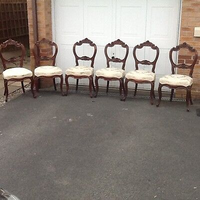 Set of 6 victorian spoon back dining chairs