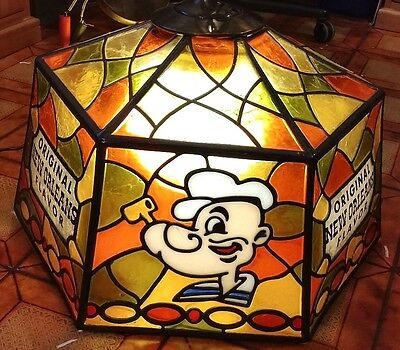 Rare 70's Popeyes Famous Fried Chicken Stained Acrylic Hanging Lamp New Orleans