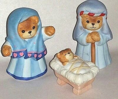 "Lucy Rigg~Lucy and Me Bear 3 pc Nativity Baby Jesus,Mary,Joseph 3"" aprox"