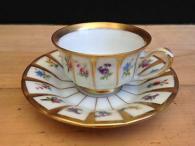 Vintage Demitasse Cup and Saucer With Flowers and Gold. Germany F