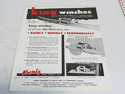 * Vintage Koenig King Winches Willys Jeep Automobile Brochure *