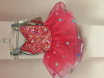 girls dance costume - coral and silver glitter - child XSMALL