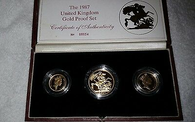1987 Great Britain UK Proof Gold Sovereign 3 Coin Set COA by Royal Mint