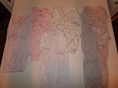 Baby Girl Sleep Gowns ~ LOT of 6 ~ Newborn ~ 0-3 mo ~ Carters