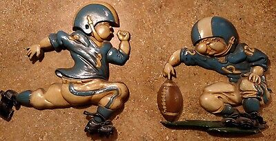 Vintage 1970's Set of 2 Sexton Metal Wall Hanging- Boy football Players- Plaques