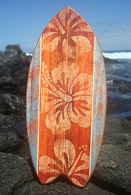 TROPICAL HAWAIIAN FLORAL ISLAND WOOD PRINT SURFBOARD SIGN Beach Home Decor NEW