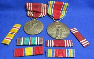 WWII Army Good Conduct, Freedom Victory Medals and Ribbon Bars Lot Of 8
