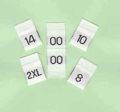 Woven Size Labels - Size Tabs - Pack of 100 - Black on White