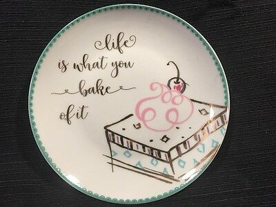 """Prima Design Plate """"Life Is What You Bake Of It"""" New 8 inches salad desert"""