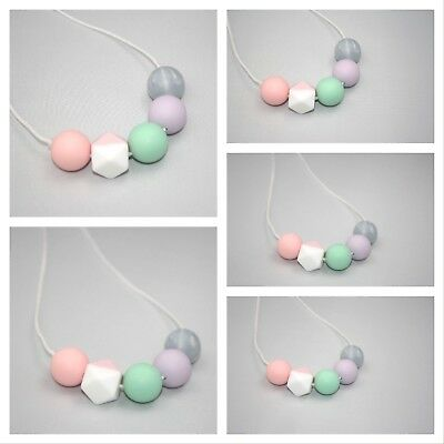 Silicone Necklace for Mum sensory (was teething) silver pink Pastel jewellery