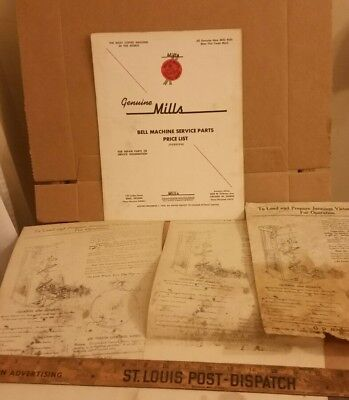 Bell Machine Service Parts Price List (Foreign) Mills Slot 1958 + Instructions