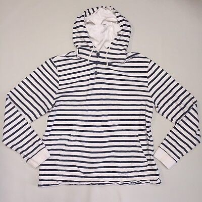 J.CREW Women's Large Hoodie Striped Long Sleeve 100% Cotton Nautical Sweater L