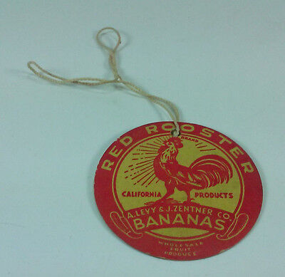 VINTAGE 1940s RED ROOSTER CALIFORNIA PRODUCTS BANANA LABEL