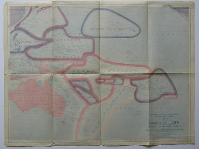 ISLANDS OF THE PACIFIC 1921 Map Sovereignty and Mandate Boundary Lines NGS