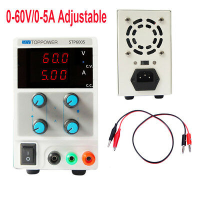 60V 5A Variable Switching LED DC Power Supply Regulated Lab Grade w/ Cable zhn