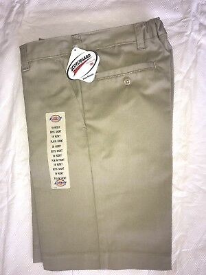 Dickies Boys Uniform Khaki Shorts Nwt 10 14 16 , Mens 40 Flat Front
