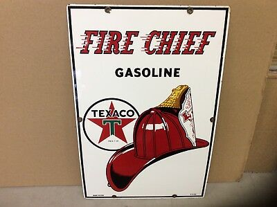 1953 Original Fire Chief TEXACO Gas Pump PORCELAIN SIGN 18X12 NEAR PERFECT!!!