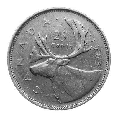 1965 Canada Silver 25 Cents Actual Photos Cleaned *FREE USA SHIPPING*