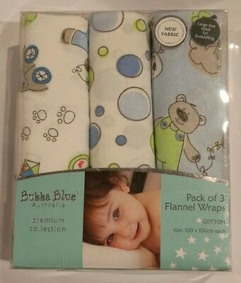 BUBBA BLUE pack of 3 Flannel wraps