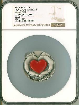 2016 Niue Silver $5 - I Give You My Heart - PF70 ANTIQUED - NGC Coin #004 - RARE