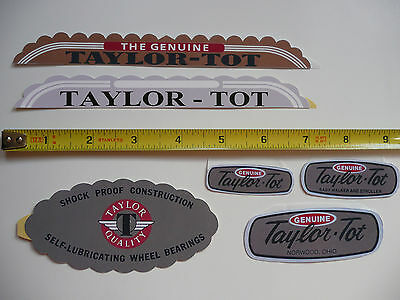 Lot of 6 Assorted Taylor-Tot Stroller Decals Sticker Reproductions