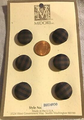 6 MIDORI Domed Dark Brown Black Plaid Fabric Covered Buttons 1 Card 19mm 3/4""