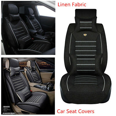 Standard Edition Linen Fabric Car Seat Cover Styling Protector Mat Pad w/Pillows
