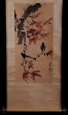 Exquisite Old Chinese Scroll Bird Hand Painting Collection Marks KK692