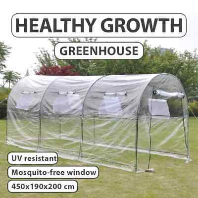 Garden Greenhouse PVC Cover Walk in Green Shade Plant Hot House Storage 4.5x2m